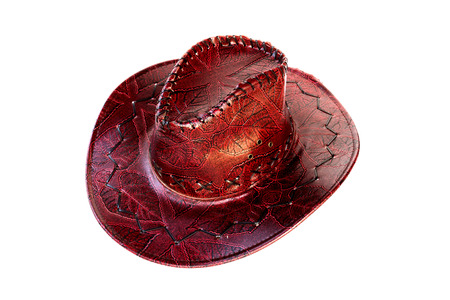 brown leather hat: Brown leather hat isolated on white Traditional hat for all american cowboys Stock Photo