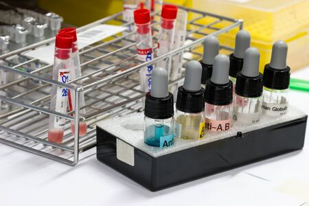 immunological: close up  of bottle blood type test kit
