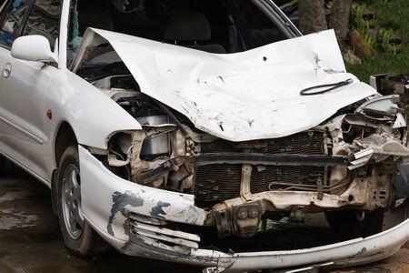 fender bender: car crash accident on street, damaged automobile