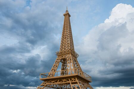 simulate: simulate Eiffel Tower with dramatic sky at late evening