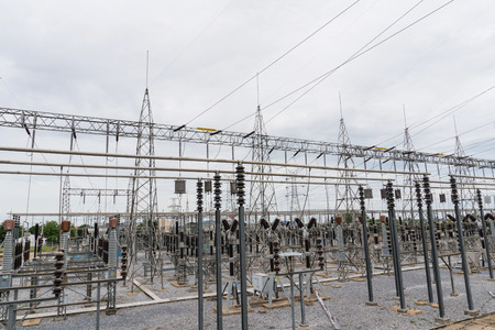 sub station: High voltage electric power plant Stock Photo