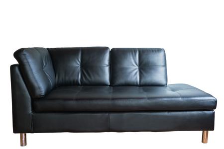 white sofa: Isolated Black leather sofa on white background