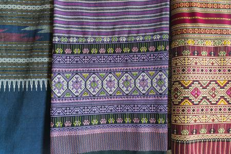 trabajo manual: Tela tailandesa tradición trabajo hecho a mano colorido de la tribu de la colina en el norte de Tailandia. Foto de archivo
