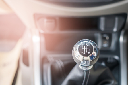 gear shift in Modern car interior