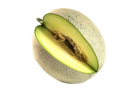 Cantaloupe: cantaloupe melon slices isolated on white background Stock Photo