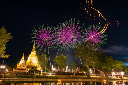 Fire works at Sukhothai Province in the north of Thailand during Loy Kratong Light and Candle Festival