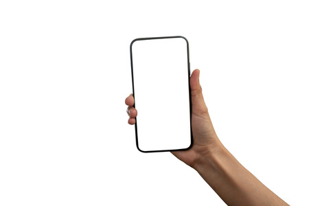 hand holding black smartphone with white screen at isolated on white background Imagens