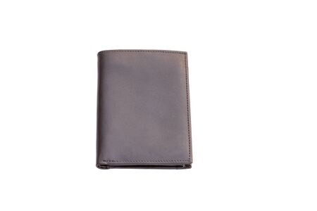 Closeup top brown leather wallet  on white background