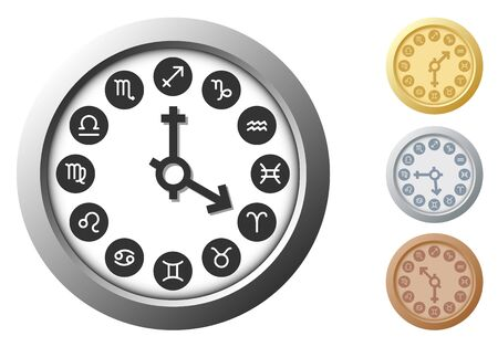 Gold, silver and cuprum zodiacal circle as watch with zodiac sign Vector