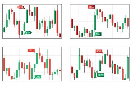 uptrend: Four various  types of japan candlestick business charts Illustration