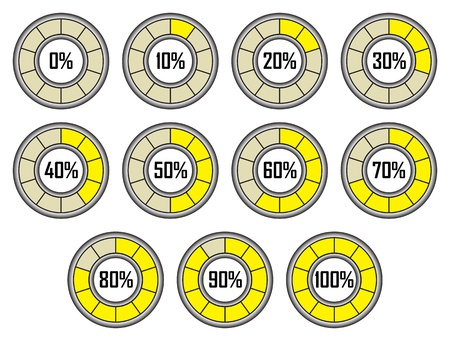 Set of Yellow Round Loader Progress Bars with Ten Sectors Illustration