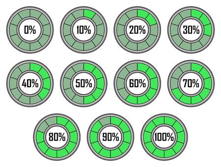 Set of Green Round Loader Progress Bars with Ten Sectors