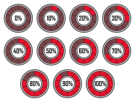 Set of Red Round Loader Progress Bars with Ten Sectors Illustration
