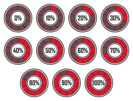 Set of Red Round Loader Progress Bars with Ten Sectors Illustration