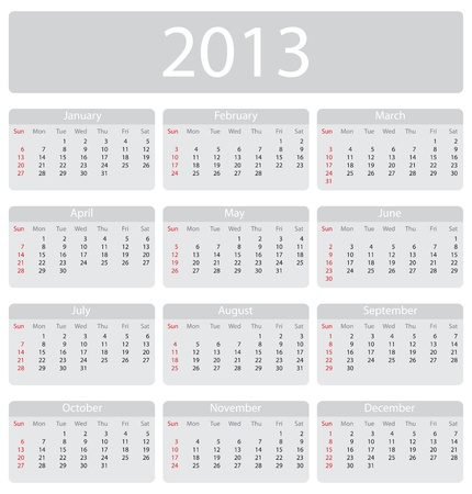 Minimalistic 2013 calendar - week starts with sunday