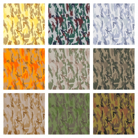 Various types of seamless camouflage patterns