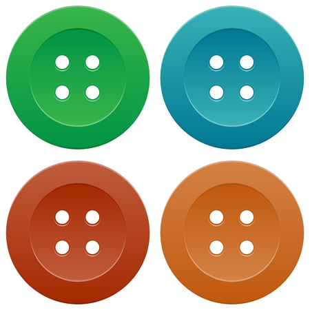 Group of Bright Colorful Sewing Buttons on White Background