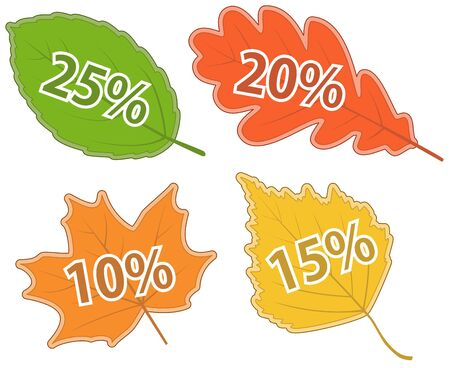 Set of Autumnal Leaves with Discount Values