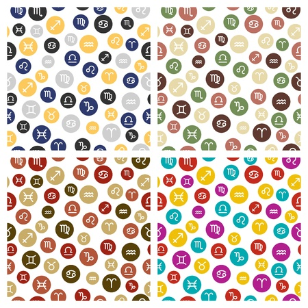 Set van Horoscoop tekenen als Seamless Patterns Stock Illustratie