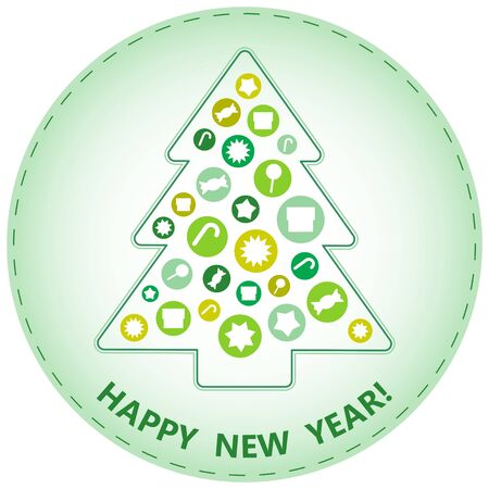 Simple Christmas Tree with Vaus Gifts on Light Green Background; Abstract Minimalistic Design Stock Vector - 16798305
