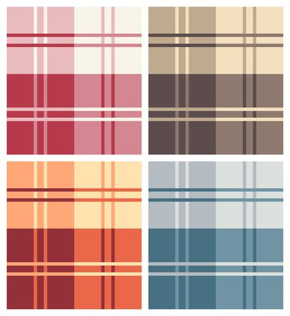 Set of Various Multicolor Types of Square Pattern Fabrics Illustration