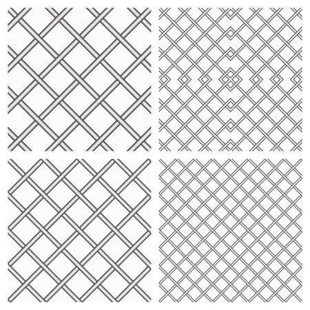 Set of Two Metal or steel Grids as Seamless  Background Illustration