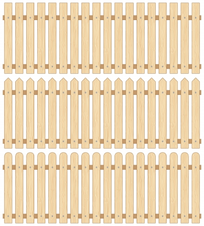 Set of Three Wooden Fences, Seamless