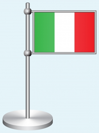 Italy Flag with Metal Stand Illustration