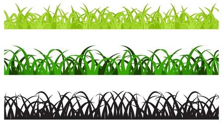 Set of Three Grass Border Pieces, Seamless Stock Vector - 20303654