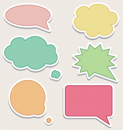 Set of Colorful Speech Bubbles or Clouds