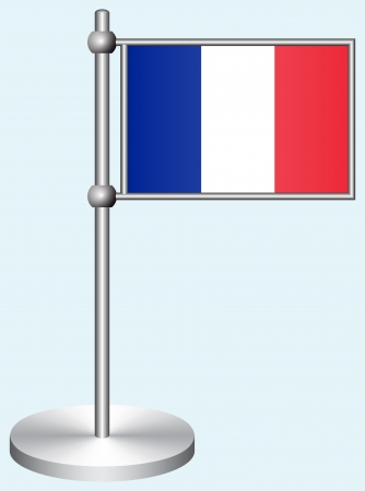 France Flag with Metal Stand Illustration