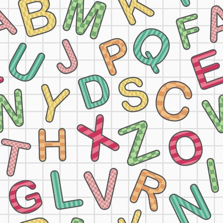 english alphabet on paper as seamless background