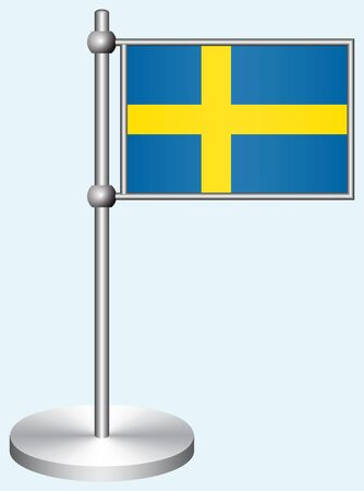 Sweden Flag with Metal Stand