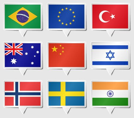 Set of Various flags as speech rectangle stickers