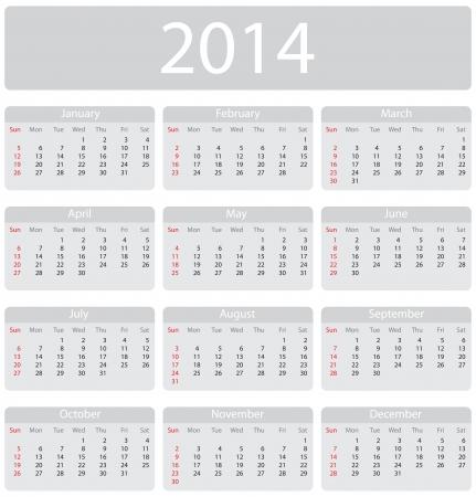mon 12: Minimalistic 2014 calendar - week starts with sunday
