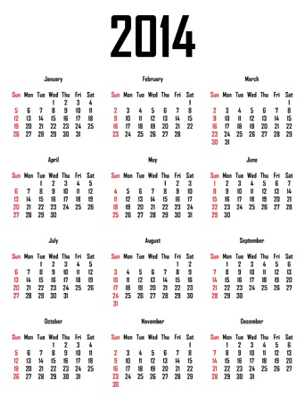mon 12: Calendar for 2014 - week starts with sunday