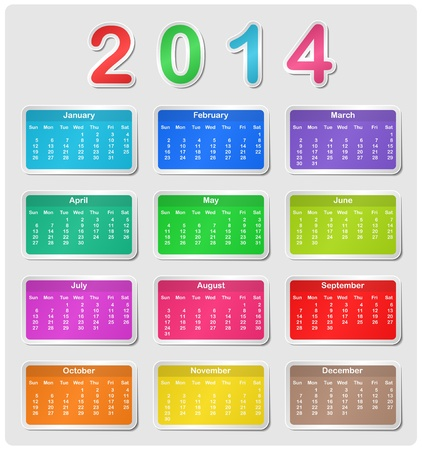 Colorful calendar for 2014 - week starts with sunday Illustration
