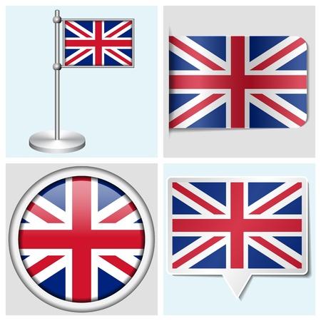 bandera de gran breta�a: Bandera de Gran Breta�a - conjunto de diversos parachoques, el bot�n, la etiqueta y asta