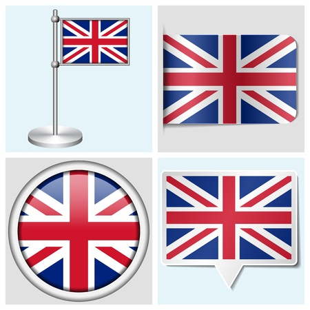 Great Britain flag - set of various sticker, button, label and flagstaff