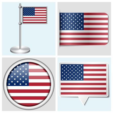 USA flag - set of various sticker, button, label and flagstaff Illustration