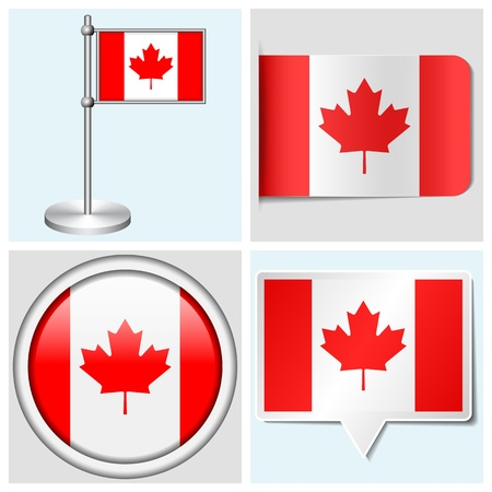 Canada flag - set of various sticker, button, label and flagstaff Illustration