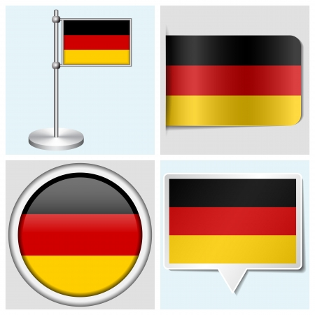 Germany flag - set of various sticker, button, label and flagstaff