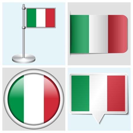 Italy flag - set of various sticker, button, label and flagstaff