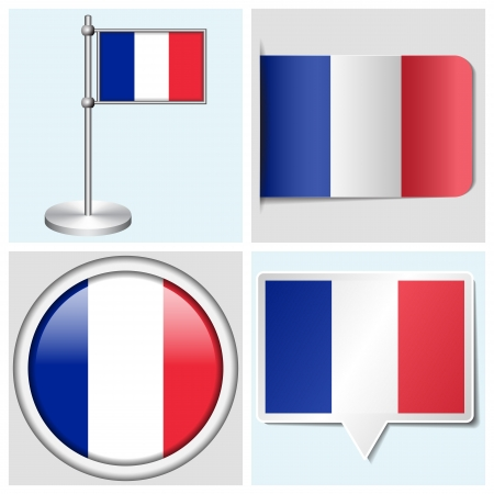 France flag - set of various sticker, button, label and flagstaff