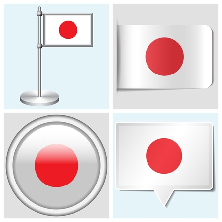 Japan flag - set of various sticker, button, label and flagstaff Vector