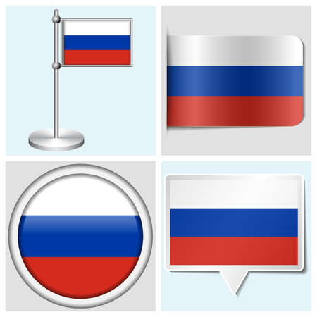 Russia flag - set of various sticker, button, label and flagstaff