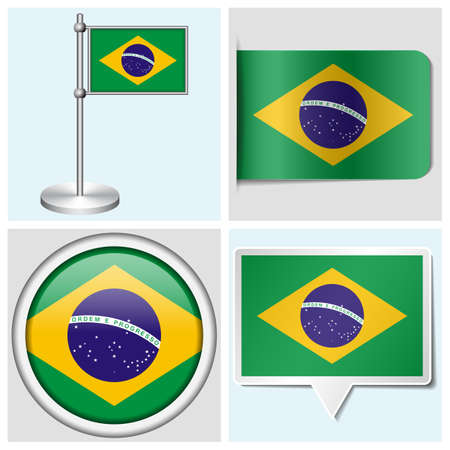 Brazil flag - set van verschillende sticker, knoop, label en vlaggemast Stock Illustratie