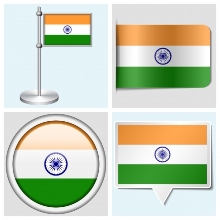 India flag - set of various sticker, button, label and flagstaff