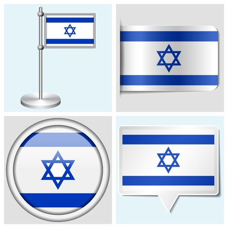 Israel flag - set of various sticker, button, label and flagstaff
