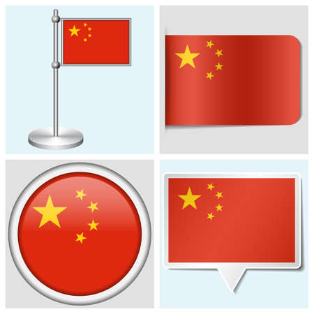 China flag - set of various sticker, button, label and flagstaff